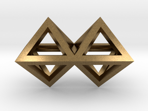 4 Pendant. Perfect Pyramid Structure. in Natural Bronze