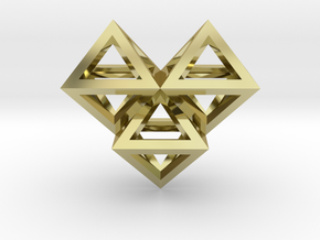 V6 Pendant. Perfect Pyramid Structure. in 18k Gold Plated Brass