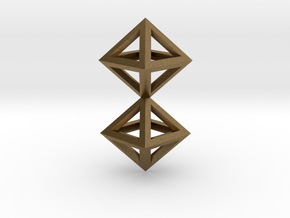 S4 Pendant. Perfect Pyramid Structure. in Natural Bronze