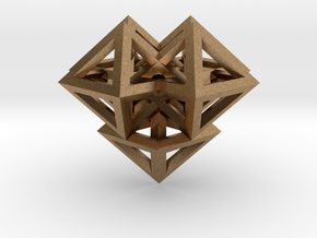 V8 Pendant. Perfect Pyramid Structure. in Natural Brass