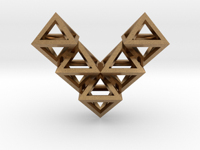 V10 Pendant. Perfect Pyramid Structure. in Natural Brass