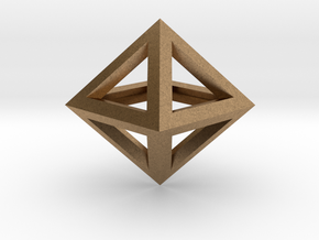 S2 Pendant. Perfect Pyramid Structure. in Natural Brass