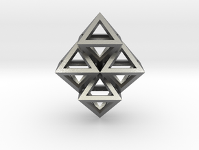 R8 Pendant. Perfect Pyramid Structure. in Natural Silver