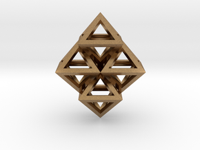 R8 Pendant. Perfect Pyramid Structure. in Natural Brass