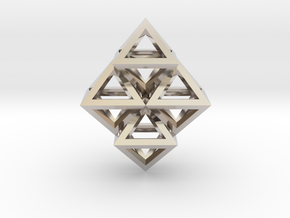 R8 Pendant. Perfect Pyramid Structure. in Rhodium Plated Brass