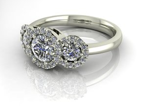 3 Stone Halo NO STONES SUPPLIED in Fine Detail Polished Silver