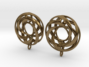 Twisted Torus Earrings in Precious Metals in Polished Bronze