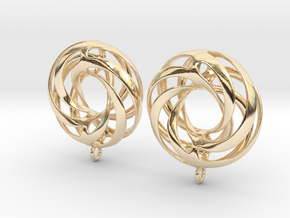 Twisted Torus Earrings in Precious Metals in 14K Yellow Gold