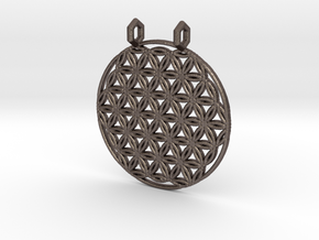 Flower Of Life Pendant (2 Loops) in Polished Bronzed Silver Steel
