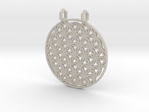 Flower Of Life Pendant (2 Loops) in Natural Sandstone