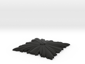 Newel Post Pendant Leaf in Black Natural Versatile Plastic: Small