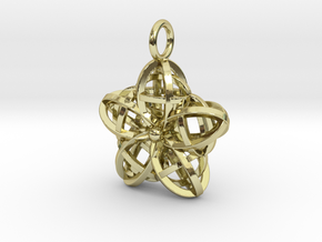 Wire Flower Pendant in 18k Gold Plated Brass