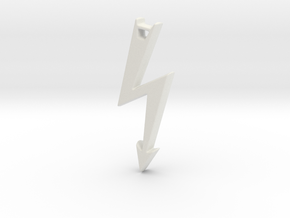 Electrical Hazard Lightning Bolt with Hole in White Strong & Flexible