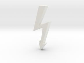 Electrical Hazard Lightning Bolt b in White Natural Versatile Plastic