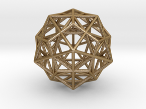 Stellated IcosiDodecahedron in Polished Gold Steel