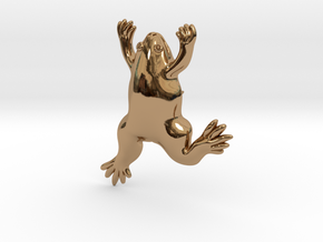 Xenopus Lapel Pin - Science Jewelry in Polished Brass
