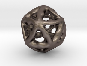 Math Art - Alien Ball Pendant in Polished Bronzed Silver Steel