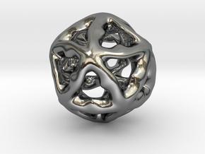 Math Art - Alien Ball Pendant in Polished Silver