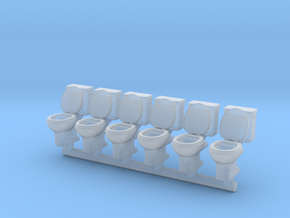 Toilet 01. HO Scale (1:87) in Smooth Fine Detail Plastic