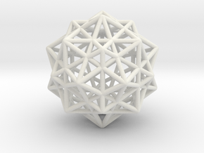 Icosahedron with Star Faced Dodecahedron in White Natural Versatile Plastic