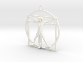 Vitruvian man 52mm in White Strong & Flexible Polished
