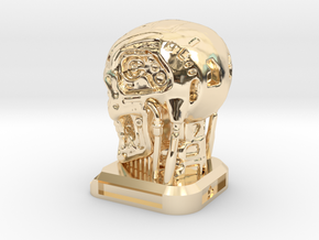 Small Desktop Decoration - T800 Skull in 14k Gold Plated Brass