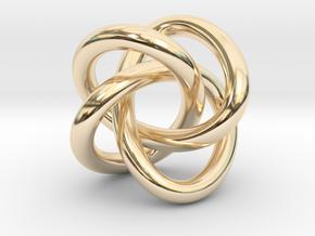 Math Art - (4,3) Torus Knot  Pendant in 14k Gold Plated Brass