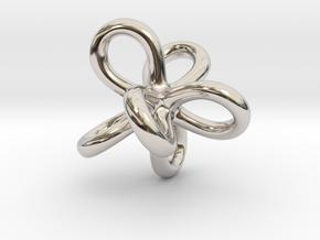 Math Art - Entangled Infinities Pendant in Rhodium Plated Brass
