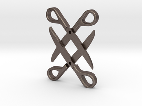 Sapphic: Scissor pendant in Polished Bronzed Silver Steel