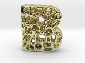 Voronoi Letter ( alphabet ) B in 18k Gold Plated Brass