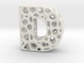 Voronoi Letter ( alphabet ) D in White Strong & Flexible