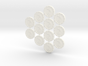 Descent Valor tokens  - LotW (12 pcs) in White Strong & Flexible Polished