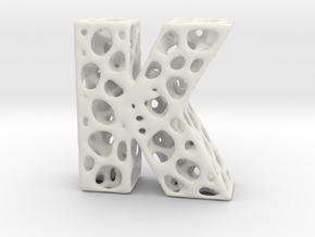 Voronoi Letter ( alphabet ) K in White Strong & Flexible