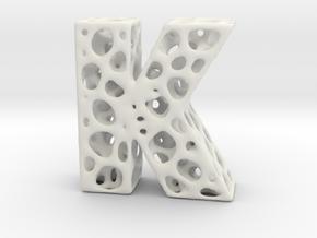 Voronoi Letter ( alphabet ) K in White Natural Versatile Plastic