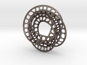 3 quarter twist Möbius strip (color) in Polished Bronzed Silver Steel