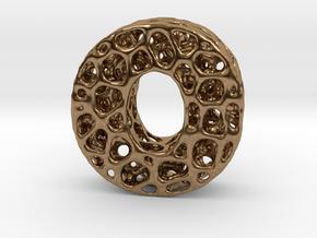 Voronoi Letter ( alphabet ) O in Natural Brass