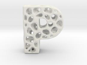 Voronoi Letter ( alphabet ) P in White Natural Versatile Plastic