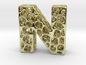 Voronoi Letter ( alphabet ) N in 18k Gold Plated Brass