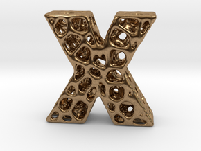 Voronoi Letter ( alphabet ) X in Natural Brass