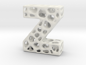 Voronoi Letter ( alphabet ) Z in White Natural Versatile Plastic