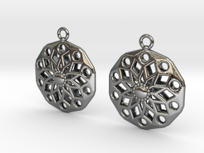 Geometric Flower ZF2 Earrings Silver in Polished Silver