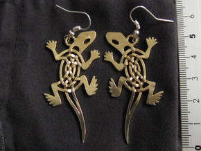 Celtic Lizard Earrings in Raw Brass