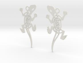 Celtic Lizard Earrings in White Natural Versatile Plastic