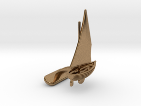 Small Sailing Boat Cufflink I in Natural Brass