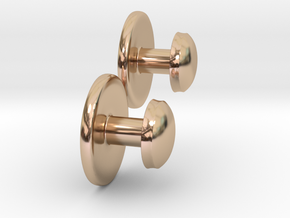 Classic Flat Domed 8G Tux Stud (pair) in 14k Rose Gold