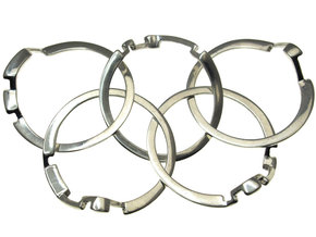 Olympic Puzzle Ring metal in Polished Silver (Interlocking Parts)