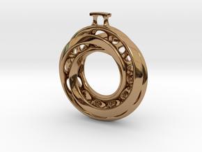 Moebius Twisted Pendant Interlocked in Polished Brass (Interlocking Parts)