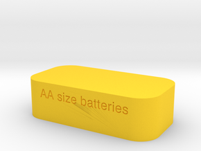 Battery Case SIZE AA  in Yellow Processed Versatile Plastic