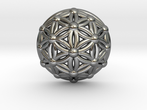 Flower Of Life Dome in Polished Silver
