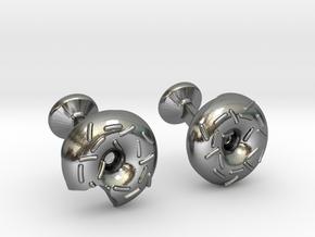 Custom Doughnut Cufflinks-ENGRAVED in Polished Silver